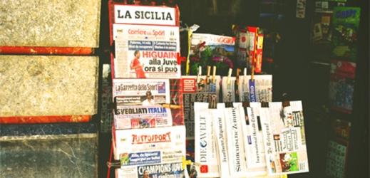 newsstand in Sicily