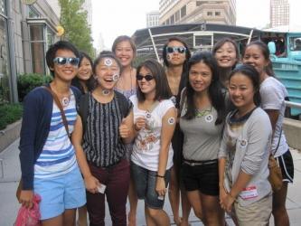 students posing outside