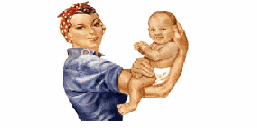 rosie the riveter holding a baby