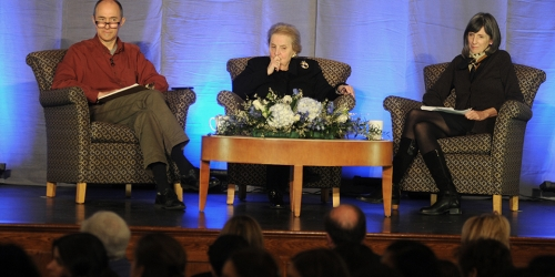 panel with Madeline Albright and two speakers