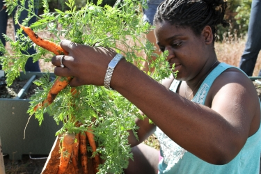 student holds up her carrot harvest