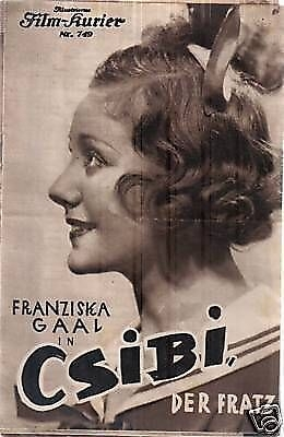 "Advertisement for ""Csibi der Fratz"" (1934), by exiled director Max Neufeld, starring exiled actress Franziska Gaa"
