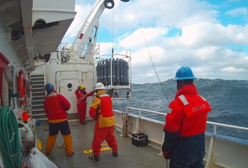 Scientists aboard the first research cruise of the Northeastern Shelf (NES) LTER project