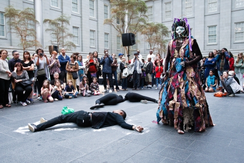 """María Magdalena Campos-Pons and Neil Leonard, """"Identified."""" Performance at the National Portrait Gallery. 2016. Photo by Nikki"""