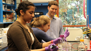 Marc Tetel works with two students in lab