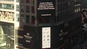 scene of Times Square with Wellesley news